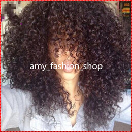 Wholesale Remy Afro Hair - Top quality lace wigs Celeb Afro kinky curl Glueless Cap 8 inch natural Indian Remy human hair regular affordable machine made Short wig