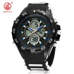Wholesale Digital Watch Blue Lcd - OHSEN Digital Quartz Fashion LCD Wristwatch Mens Man 50M Waterproof Rubber Band Day Date Alarm Blue Watch Male Chronograph Montre Homme Gift