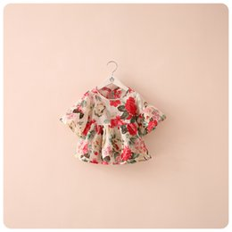Wholesale Girls Lace Sleeve Tops - Summer kids shirt girl floral top baby girl flower dress chiffon clothes clothing 2 colors 5 p l