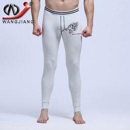 золотые костюмы для новинок Скидка Wholesale-Sexy Long Johns 2016 WJ Cotton Thermal Underwear Sexy Warm Low Rise Pouch Bottom Leggings Print Wolf Thermo WJ Men Long Johns