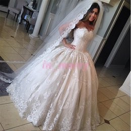 Wholesale Korean Neck Strap - Princess Cinderella Wedding Dresses Pictures 2017 Ball Gown Sweetheart Bead New Korean Vintage Lace Victorian Muslim Islamic Wedding Gowns