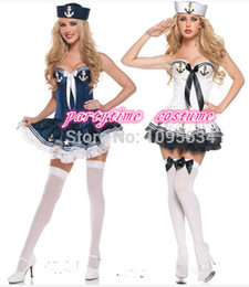 Wholesale Sailor Girl Fancy Dress - Wholesale-Fancy Party Marine Sailor Navy Girl Costume Dress New Halloween Sailor Cosplay Sexy Dress Hat Outfit halloween Costume For WOMen