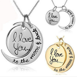 Wholesale Engraved 925 - couples necklaces engraving pendants Hip Hop High Quality Cheap Jewelry 925 Silver 24K Gold Chains Necklaces I Love You Sun Moon Necklaces