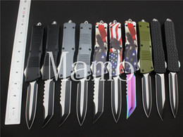 Wholesale Half Serrated Pocket Knife - Newest 10 type Micro A163 A07 Combat Troodon single edged half serrated knives 440C steel Pocket knife camping DRC knife EDC hand Tool