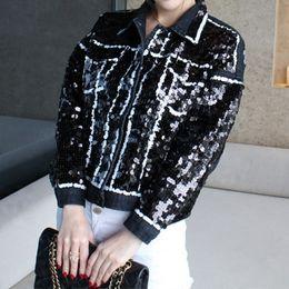 2019 giacche boutique all'ingrosso All'ingrosso- 2015 boutique di moda donna aperto filo paillettes sciolto bucato denim giacca sconti giacche boutique all'ingrosso