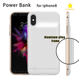 Wholesale Iphone Borders - 4000Mah 5000Mah Power Bank Charger Case Cover Backup Battery Case Meatal Border for iPhone 6 Plus 7 Plus iPhone 8 with Package