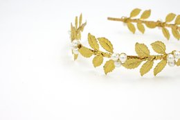 Wholesale Small Leaves Plants - CHENLVXIE 2017 Cheap Golden leaves Bridal Hats Small Beads Hand Made New Arrive Hat Bride Real Image Hot Sale In Stock