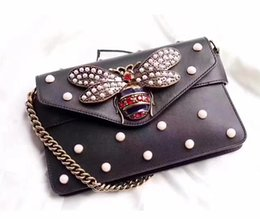 Wholesale Pearl Envelopes - 2017 TOP quality leather bags handbags women famous brands bee pearl bag fashion designer shoulder bag high quality luxury party bags