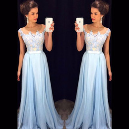 Wholesale Lace Maternity Tops - Top Blue Lace Appliques Long Prom Dresses Scoop Neck Floor Length Chiffon Evening Party Dress Party Elegant Formal Dress 2017