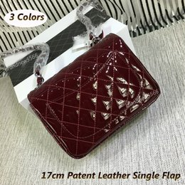 Wholesale Red Diamond Wine - High Quality 17cm Mini Patent Leather Single Flap Bag Wine Red Classic Mini Flap Women's Shoulder Bag Chain Bag 3 Colors ,Free Shipping