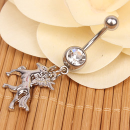 Wholesale Horse Belly Rings - 0022-1 horse style navel belly ring 10 pcs stainless steel piercing jewelry CLEAR color stone drop shipping
