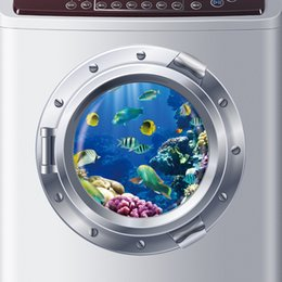 Wholesale Nursery Wall Stickers Fish - Wholesale- 3d Ocean View Fish window Wall Sticker Nursery Bathroom Decals Sea Portal Peel stick Sea Cruise Wall Art for kids Rooms