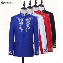 Wholesale Embroidery Bridegroom Suits - Wholesale- Red Black Blue white Bridegroom Mandarin Tuxedo Suit Embroidery Stand Collar Chinese Tunic Suit (Jacket+Pants)
