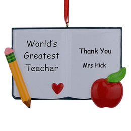 Wholesale Ornament Supplies - World's Greatest Teacher Book Personalized Polyresin Christmas Ornaments As For Holiday Gifts Home Decor Car Ornaments