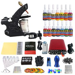 Wholesale Tattoo Supplies Ink Cups - Complete Tattoo Kit 1 Pro Machine Guns 14 Inks Power Supply and pedal Needle Grips ink cups and tips TK101