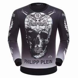 Wholesale Long Coats Price - Best price 2016 New trend men's big skull hoodies Brand Mens round neck hedging sweatshirt coat wholesale
