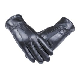 Wholesale Boys Mittens Black - Wholesale- men pu leather gloves Luxurious pu Leather Winter Super Warm Gloves Cashmere boy five fingers Driving gloves Black mittens