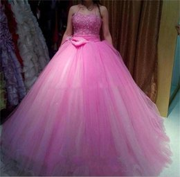 Wholesale Tutu Teens - Pink Ball Gown Quinceanera Dresses With Sash Bow Crystals Beads tutu Tulle Graduation Dresses For Teens Long Sweetheart Pageant Dress