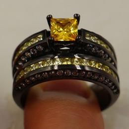 Wholesale Black Diamond Set Jewelry Ring - whoesale Fashion Princess-cut Yellow Simulated Diamond CZ jewelry ring 10kt Black gold filled Wedding Band Ring Set for Women Size 5-10 Gift
