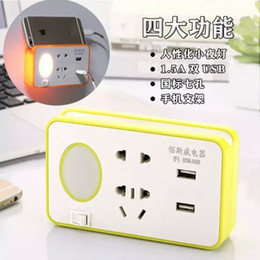 Wholesale universal power extension - Multifunction Power Strip Outlet Socket 2 USB Extension Socket Plug with a night light and Phone Stand holder Standard Socket