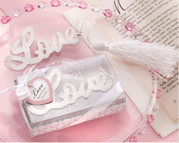 Wholesale price for love - free shipping 300pcs lot factory price love theme LOVE bookmark with tassel wedding favours, baby shower return gifts for guest