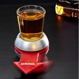 Wholesale Wholesale Stock Wheels - Novely Spin The Shot Glass Turntable Toys Drinking Game Shot Glass With Spinning Wheel Bar Wine Games Party Favors CCA7294 100pcs