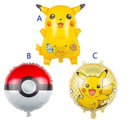 Wholesale pikachu party - 3 style 45cm 18inch Poke go Pikachu Balloons children Pikachu Poke Ball Charmander Jeni turtle Birthday Party Balloons Halloween Balloon