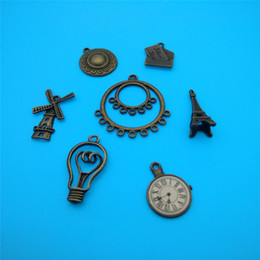 Wholesale Bronze Pendant Lamp - Mixed Tibetan Bronze Plated Windmill Lamp Envelope Charms Pendants Jewelry Making Bracelet Necklace Fashion Jewelry Accessories DIY V109