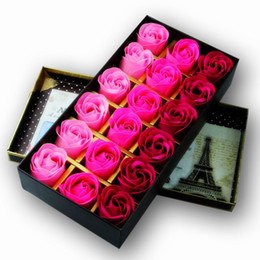 Wholesale Bath Set Box - 18 Pcs   Set Red Scented Bath Soap Rose Soap flower Petal With Gift Box For Wedding Valentine's Day