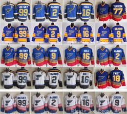 2019 camisolas de gelo St Louis Blues Jerseys Hóquei no gelo Vintage 16 Brett Casco 99 Wayne Gretzky 2 AL Macinnis 9 Shayne Corson 9 Doug Gilmour azul branco camisolas de gelo barato