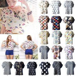Wholesale Women Work Top - S M L XL XXL Women Bird Printed Chiffon Blouses for Work Wear Polk Dot Shirts Women Tops Batwing Short-sleeve blusas 1039