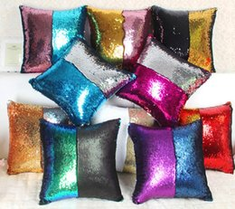 Wholesale Cushions Inserts - Rainbow Magic Mermaid Pillow With inserts Magic Sequins Cushion Cover Christmas Gifts Pillowcase Mermaid Sequin Pillow Covers for Home