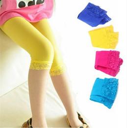 Wholesale Yellow Lace Leggings Baby - Kids Lenggings Baby Girl Candy Colors Velvet Leggings Summer Children Lace Tight Pants Kid Trousers Legging