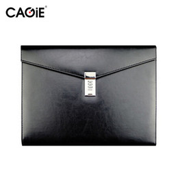 Wholesale Black A4 Bag - Wholesale-Cagie 2016 Vintage A4 Black Leather Padfolio Men Business Management Contract Password Lock Document Bag Manager File Folder