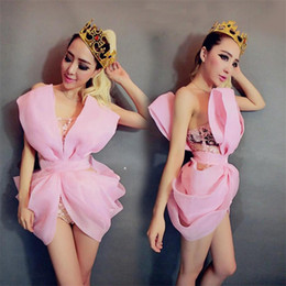 Wholesale Stripe See Through Dresses - Big bow lace bodysuit sexy see-through jumpsuit stage dress female nightclub bar costumes lead dance prom party performance wear