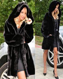 Wholesale Womens Long Length Coats - 90s Vintage Warm Mid Length Black Faux Fur Coat With Hood Warm Winter Clothing Womens Size Medium