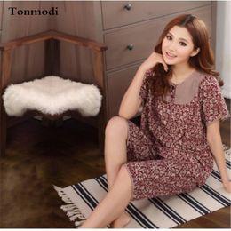 Wholesale Floral Pyjamas - Wholesale- Women Pajama Sets Summer Ladies Pyjamas Cotton Printing Short sleeve Sleepwear Women's Lounge Pajamas Plus Size 3XL 4XL