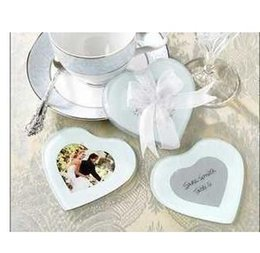 Wholesale Photo Gifts Giveaways - Cup mat wedding favor gift and giveaways for guest -- European Style Heart Shape Glass Photo Coaster Party Favor