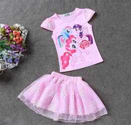 Wholesale Pony Skirt - 2pc sets skirt suit high quality baby sets girls short sleeve skirt set pony cartoon girls kids free shipping in stock