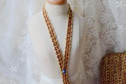 Guarnição tecida on-line-Acessórios de vestuário de moda 0.7 cm Poliéster Cinto De Tecido De Ouro Guarnições Ornamento DIY Handmade Acessórios de Material De Costura