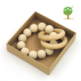 Wholesale Inspired Rings - Hot sale Round wooden beads New Wooden Teething Ring Teething Toy Montessori Inspired Organic Baby Toy ET15