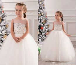 Wholesale Dresse Tulle - Cute White Lace Long Tulle Sheer Neck Ivory Baby Girls Birthday Party Rhinestone 2016 Jewel Ball Gown Christmas Princess Flower Girl Dresse