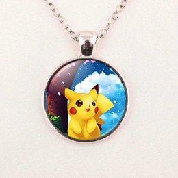 Wholesale Pikachu Jewelry - Wholesale Pikachu Necklace Pikachu Pendant Cute Pikachu Jewelry Girls Glass Cabochon Necklace