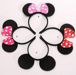 Wholesale Kids Hair Supplies - Children mickey and Minnie mouse ears headband girl boy headband kids birthday party supplies decorations