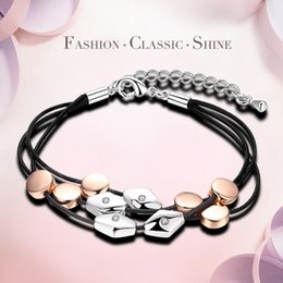 Wholesale whipping rope - New fashion rhombus round platinum rose gold accessories bracelet delicate whip leather rope personality women charm Bracelets
