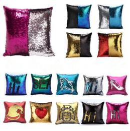 Wholesale Wholesale Decorative Pillowcases - 36 Colors Mermaid Sequin Pillow Cover Cushion Cover Magic Color Changing Sequin Throw Pillow Home Decorative Pillowcase CCA6835 50pcs