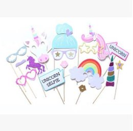 Wholesale Birthday Party Supplies Themes - 16pcs pack Unicorn Party Supplies Unicorn Photo Booth Props Suitable for Birthday Theme Party Great Party Decoration CCA7633 200set