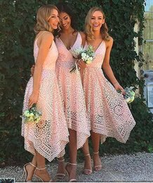 Wholesale White Tea Bridesmaid Dresses - 2017 New Style Elegant Tea Length Blush Pink Lace Bridesmaid Dress Irregular Hem V Neck Maid of Honor Country Wedding Guest Gowns