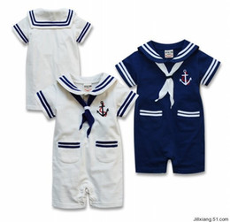 Wholesale Rompers Body Baby - Summer Body Baby Boy Sailor Suit Romper Jumpsuit Kids Clothes Infant Clothing Macacao Ropa Bebe Newborn Baby Rompers