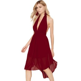 Wholesale Summer Party Dresses Design Casual - Brand Design Summer Dress Sexy Women Fashion Clothing Hot Sale Backless Halter V Neck Mini Casual Wine Red Chiffon Party Dress